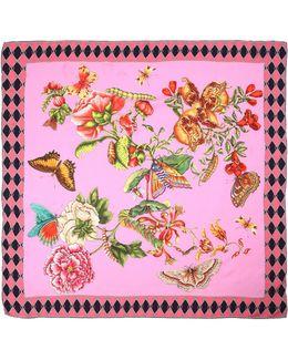 Gg Chain Bouquet Printed Silk Scarf