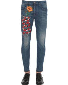 17.5cm Snake Stone Washed Denim Jeans