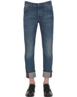 17.5cm Web Cuff Cotton Denim Jeans