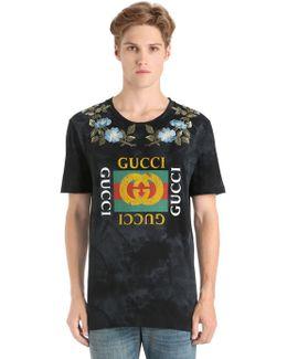 Cotton Jersey T-shirt W/ Imitation Print
