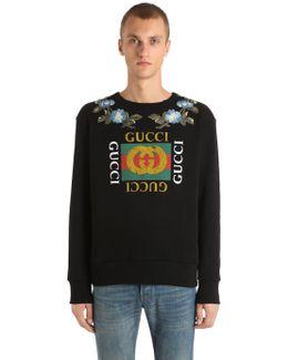 Cotton Sweatshirt W/ Imitation Print
