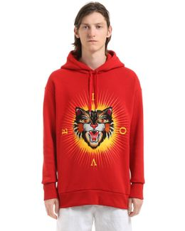 Angry Cat Patch Cotton Hooded Sweatshirt
