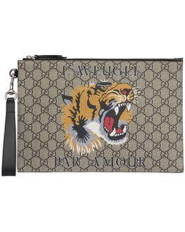 Tiger Printed Gg Supreme Pouch