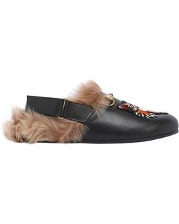 River Cat Patch Leather Mules W/ Fur