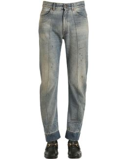 Resin Coated Stone Washed Denim Jeans