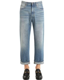 Coated Stone Washed Denim Jeans
