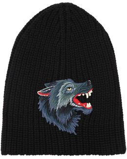Wolf Patch Wool Knit Beanie