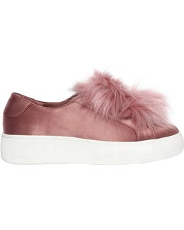 20mm Breeze Satin Sneakers W/ Pompoms