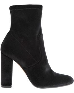 100mm Stretch Velvet Ankle Boots