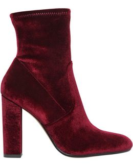Edit Velvet Side Zip Block Heel Booties