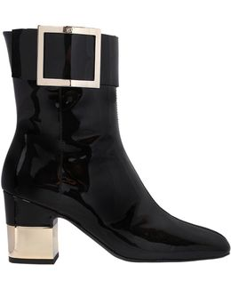 70mm Podium Patent Leather Ankle Boots