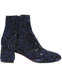 50mm Sequined Lace & Suede Ankle Boots