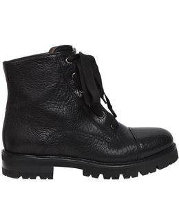 30mm Textured Leather Combat Boots
