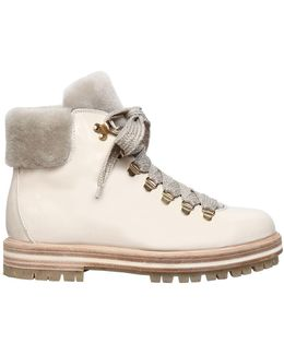 30mm Leather & Shearling Hiking Boots