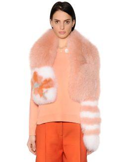 Fox Fur Stole W/ Flower & Stripe Details