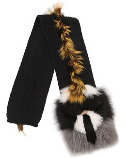 Karlito Wool Knit & Fox Fur Scarf