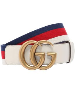40mm Gg Marmont Web & Leather Belt