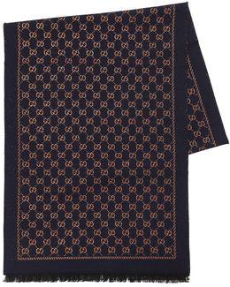 Gg Lurex Wool Scarf With Fringe