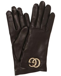 Leather Gloves W/ Gg Imitation Pearls