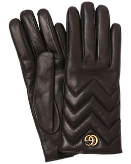 Gg Marmont 2.0 Leather Gloves