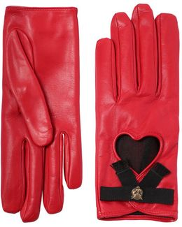 Leather Gloves W/ Bow & Cat Detail