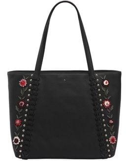 Cherie Floral Appliqués Leather Tote Bag