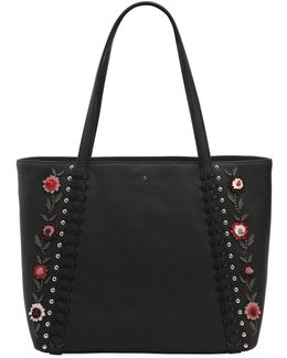 Cherie Floral Appliqués Leather Tote Bag