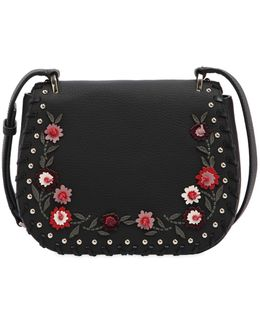 Tressa Floral Appliqués Leather Bag