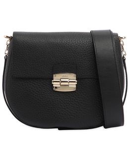 Small Club Grained Leather Shoulder Bag