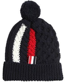 Merino Wool Cable Knit Hat W/ Pompom