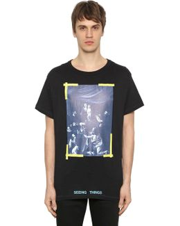 Oversize Caravaggio Print Jersey T-shirt