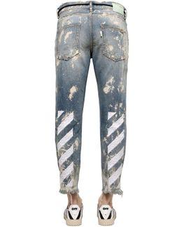 Stripe Distressed Denim Jeans