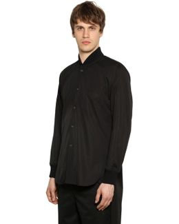 Long Poplin Shirt W/ Bomber Collar