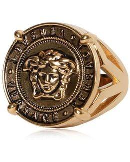 Medusa Coin Vintage Gold Ring
