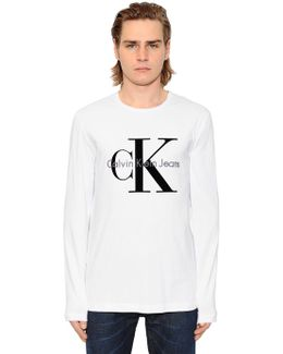 Logo Flocked Jersey Long Sleeve T-shirt