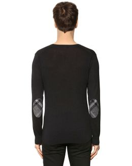 Cashmere Blend Sweater W/ Check Patches