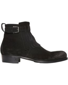 30mm Fringed Suede Ankle Boots