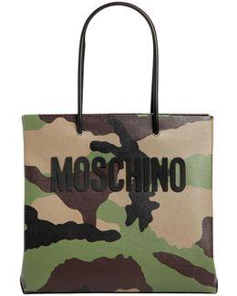 Camo Printed Leather Tote Bag