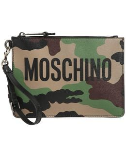 Camo Printed Leather Pouch W/ Logo