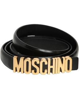 Logo Lettering Shiny Leather Belt