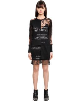 Printed Dress W/ Lace Overlay