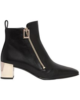 45mm Polly Zip-up Leather Ankle Boots