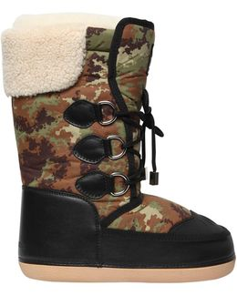 Camouflage Nylon & Faux Leather Boots