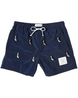 Nylon Swim Shorts W/penguin Embroidery