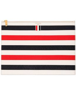 Medium Stripes Pebbled Leather Zip Pouch