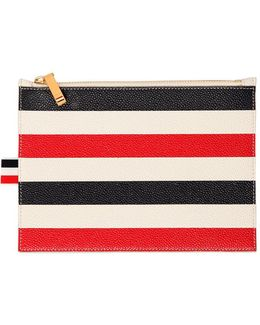 Extra Small Stripes Pebble Leather Pouch