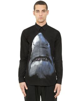 Shark Digital Print Cotton Poplin Shirt