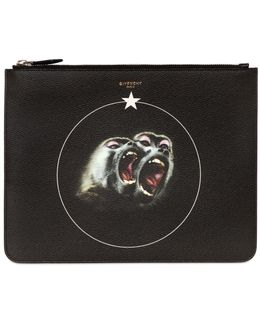 Large Monkeys Faux Leather Pouch