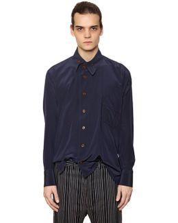 Fluid Viscose Shirt W/ Asymmetric Collar