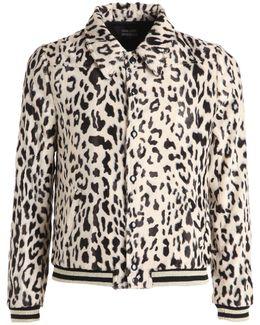 Leopard Cotton & Leather Jacket
